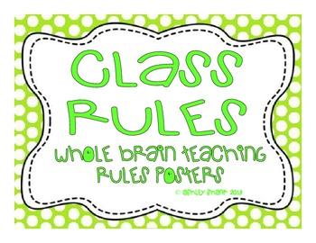 Whole Brain Teaching Classroom Rules Posters - Green Polka Dots