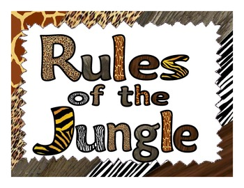 Whole Brain Teaching Classroom Rules Posters - Jungle Theme