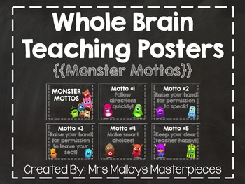 Whole Brain Teaching Posters {{Monster Mottos}}