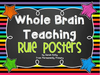 Whole Brain Teaching Rule Posters - Brights, Stripes, and