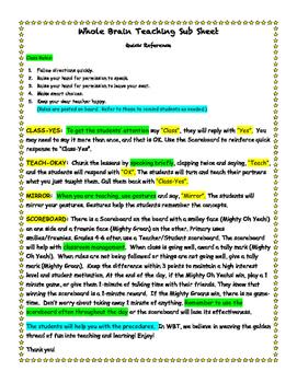 Whole Brain Teaching Substitute Sheet