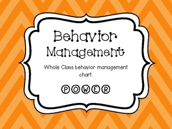 Whole Class Behavior Management POWER Chart Orange