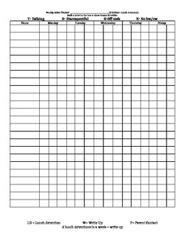 Whole Class Behavior Tracking Sheet