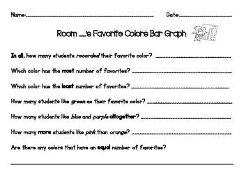 Whole Class, Favorite Color Bar Graph: Follow Up Questions