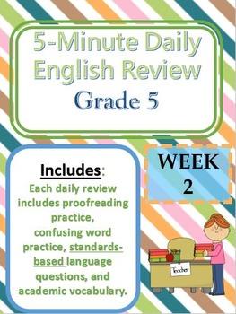 Month 2-- Daily ELA Practice--Common Core--Grade 5