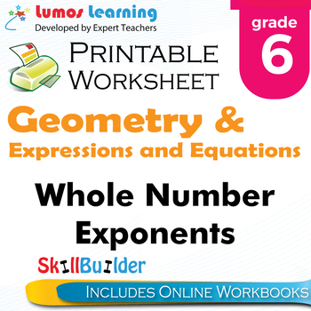 Whole Number Exponents Printable Worksheet, Grade 6
