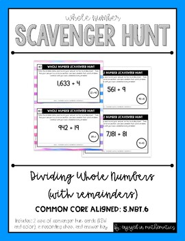 Whole Number Scavenger Hunt Set #3: Dividing Numbers {w/ r