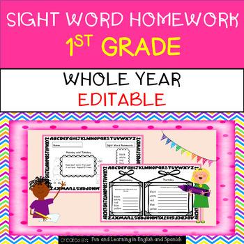 Whole Year - {Editable} Sight Word Homework - 1st Grade