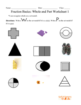 Whole and Part Worksheet