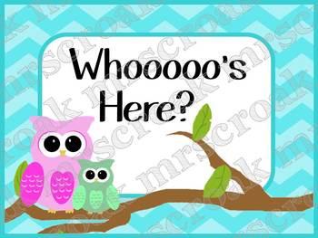 Bulletin Board: Whoooo's Here? (attendance)