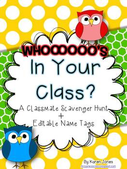 Whooooo's In Your Class? A Classmate Scavenger Hunt + Edit