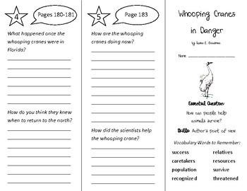 Whooping Cranes in Danger Trifold - Wonders 3rd Grade Unit