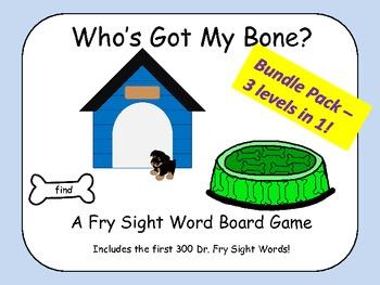 Who's Got My Bone? - A Fry Sight Word Board Game Bundle Pa