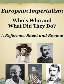 Who's Who in European Imperialism: Reference Sheet and Review