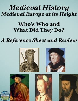 Who's Who in Medieval Europe at its Height: Reference Shee
