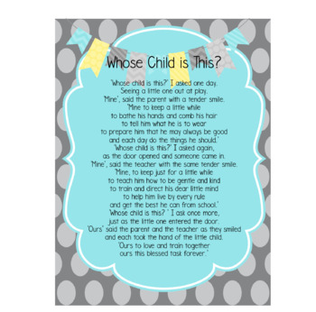 Whose Child is This? Poem