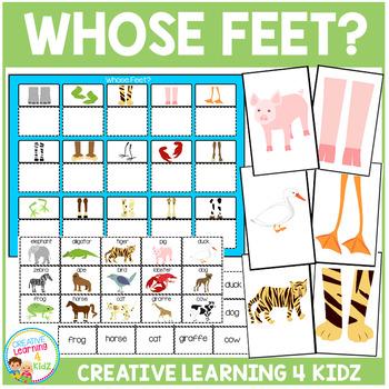 Animal Whose Feet? Matching Board Animals + Flashcards