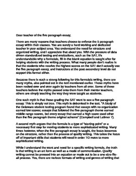 Why We Should Steer Clear of the Five Paragraph Essay