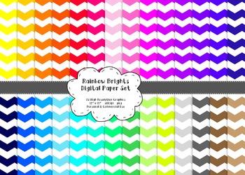 Wide Chevron Digital Paper Set  - Rainbow Brights {28}