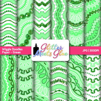 Green Wiggle Doodle Paper {Scrapbook Backgrounds for Task