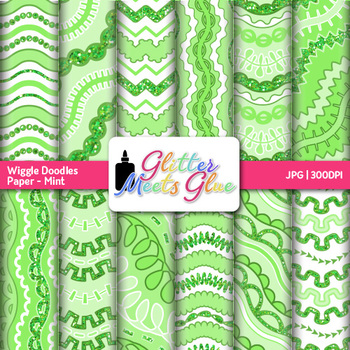 Mint Wiggle Doodle Paper {Scrapbook Backgrounds for Task C