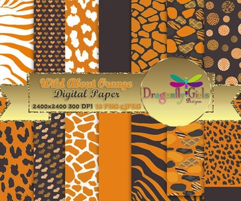 Wild About Burnt Orange digital paper, commercial use, scr