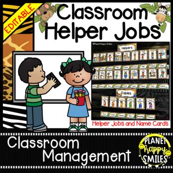 "Classroom Helper Jobs (EDITABLE) ~ ""Wild About Helping"" Sa"
