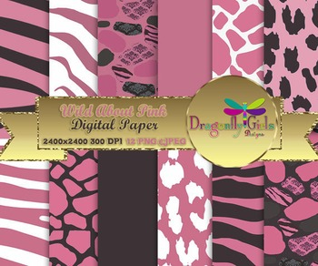 Wild About Pink digital paper, commercial use, scrapbook papers