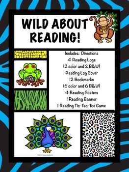 Wild About Reading! Bright Bookmarks, Reading Logs, etc. (