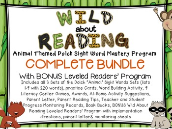 Wild About Reading Dolch Sight Word Mastery BUNDLE Sets 1,