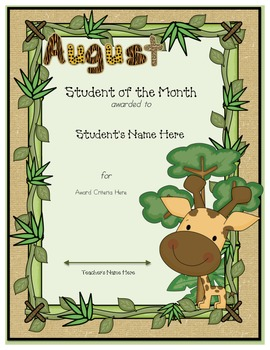 Jungle Monthly Student Awards