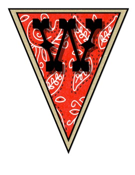 Wild West - Western Themed Red Pennant Banner