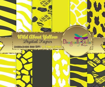 Wild About Sunny Yellow digital paper, commercial use, scr