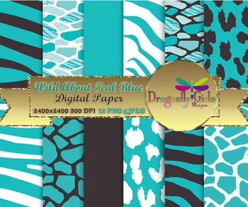 Wild About Teal Blue digital paper, commercial use, scrapb