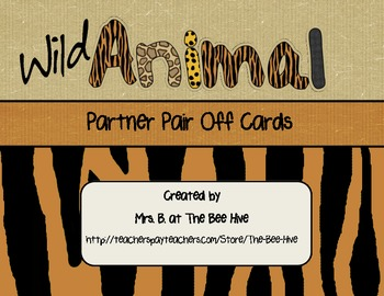 Partner Pair Off Cards Wild Animals