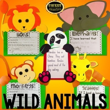Wild Animals Craft Bundle (elephant, lion, panda, monkey,