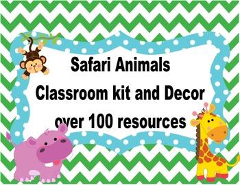 Wild Animals Safari Classroom Kit and Decor ( Green Chevro