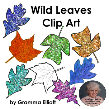 Wild Leaves Clip Art - Maple - Oak - Tulip Tree - Brightly
