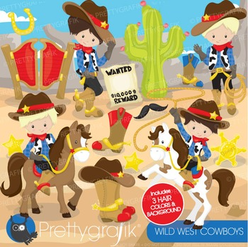 Wild west cowboy clipart commercial use, vector, digital - CL774
