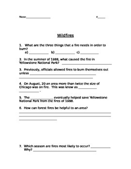 Wildfires Comprehension Questions Houghton Mifflin
