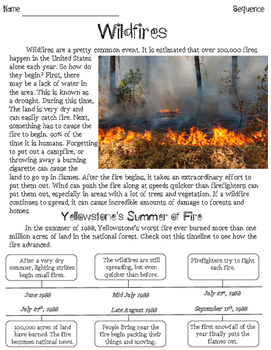 Wildfires Sequencing Nonfiction Passage