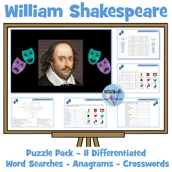 William Shakespeare Activity Pack - 10 Word Searches, Anag