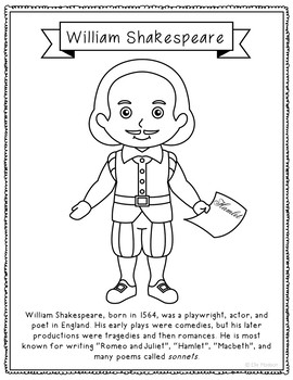 William Shakespeare Coloring Page Activity with Biography,
