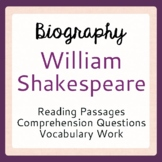 William Shakespeare Biography Informational Texts, Activities