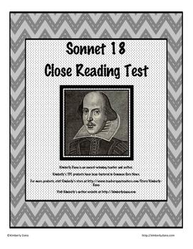 William Shakespeare's Sonnet 18 Close Reading Test