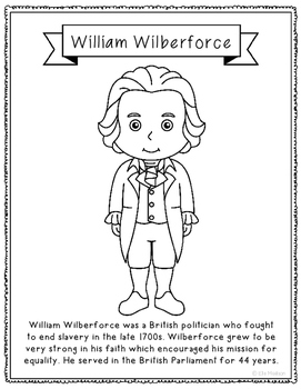 William Wilberforce Biography Coloring Page Activity or Po