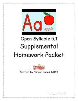 Open Syllable 5.1 Supplemental Homework Packet