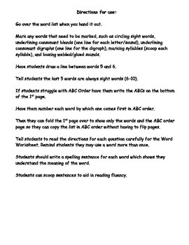 Phonics Based Spelling Packet - Level 1 - Spelling Packet 1.6a