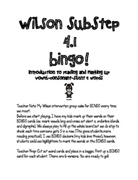 SubStep 4.1 Bingo! Introduction to Reading VCe Words