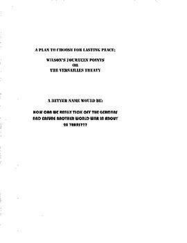 Wilson's Fourteen Points v. Versailles Treaty: A Programme